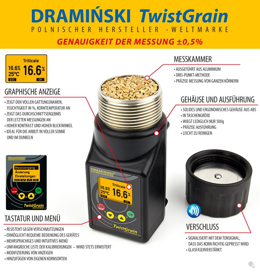 Feuchtigkeitsmesser DRAMINSKI TwistGrain sichert immer schnelle und präzise Messung der Kornfeuchtigkeit und eine reiche Auswahl an Kalibrierungen